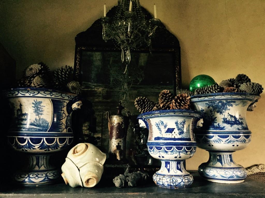 Vases d'orangerie,miroir XVIIe